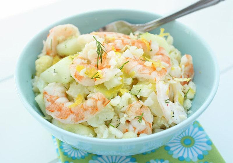 Salada de camarão e couve-flor