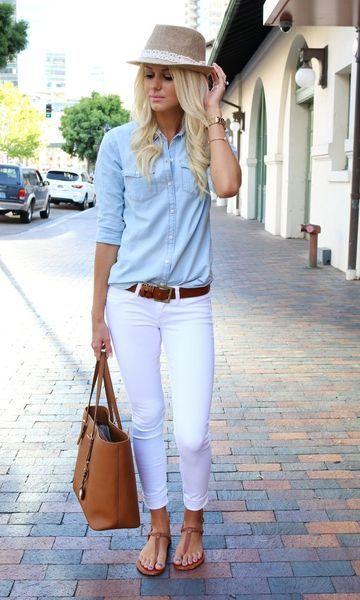 jeans branco + camisa jeans / pinterest